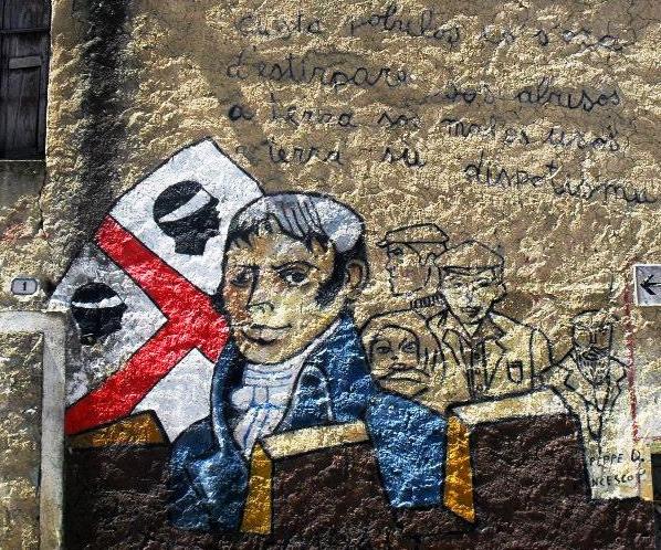 Orgosolo Murale con bandiera sarda